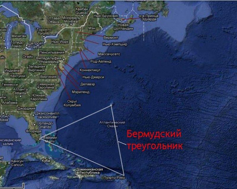Бермудский треугольник на карте мира