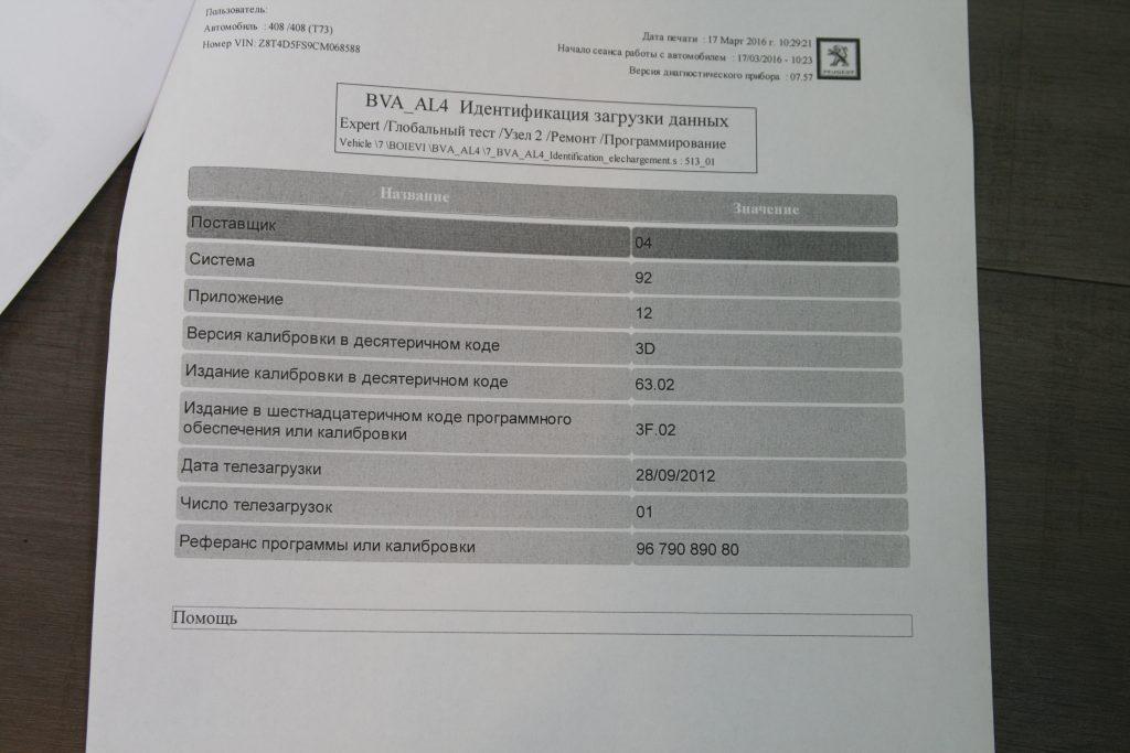 Диагностика АКПП AL 4 пежо 408